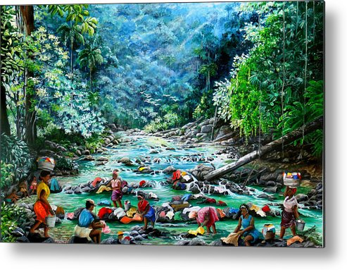 Land Scape Painting River Painting Mountain Painting Rain Forest Painting Washerwomen Painting Laundry Painting Caribbean Painting Tropical Painting Village Washer Women At A Mountain River In Trinidad And Tobago Metal Print featuring the painting Caribbean Wash Day by Karin Dawn Kelshall- Best