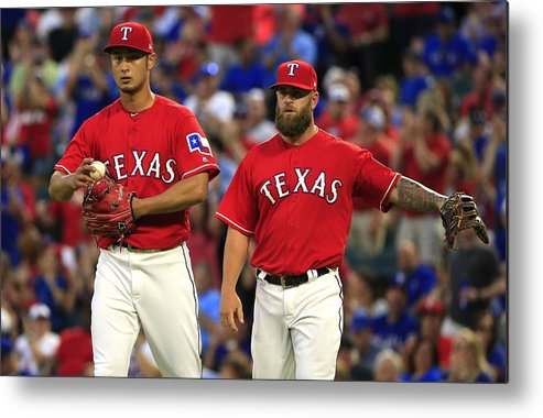 Double Play Metal Print featuring the photograph Cleveland Indians V Texas Rangers by Ron Jenkins
