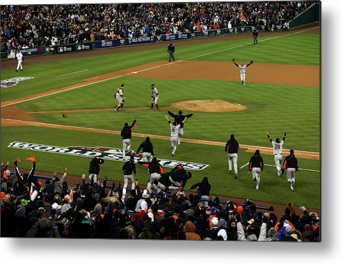 American League Baseball Metal Print featuring the photograph Miguel Cabrera, Sergio Romo, And Buster Posey by Jonathan Daniel