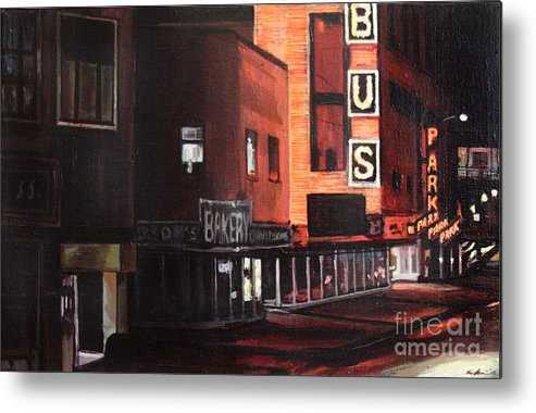 Chicago Metal Print featuring the painting Randolph At Night by Christopher Buoscio