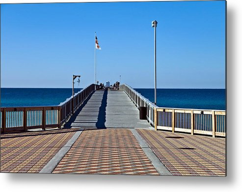 Wooden Metal Print featuring the photograph Fishing Pier by Susan Leggett