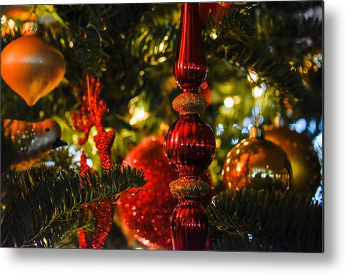 Christmas Tree Metal Print featuring the photograph Holiday Decorations by Lee Roth