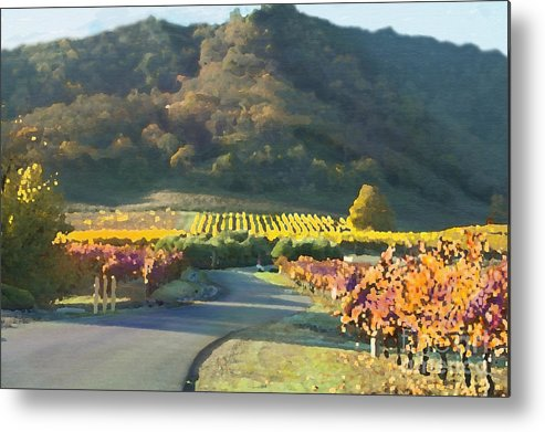 Corde Valle San Martin Ca Metal Print featuring the painting The Hills Of Clos La Chance Winery by Artist and Photographer Laura Wrede