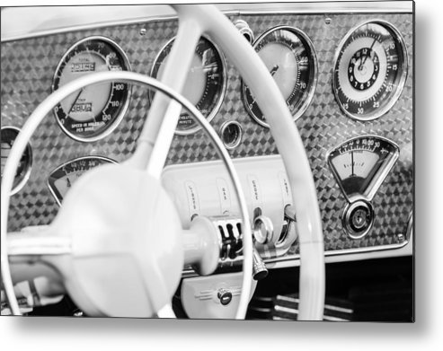 1937 Cord 812 Phaeton Dashboard Instruments Metal Print featuring the photograph 1937 Cord 812 Phaeton Dashboard Instruments by Jill Reger