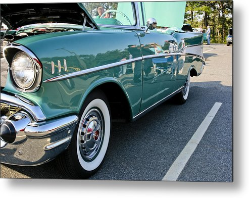 Transportation Metal Print featuring the photograph 1957 Chevy Bel Air Green Right Side by Dennis Coates