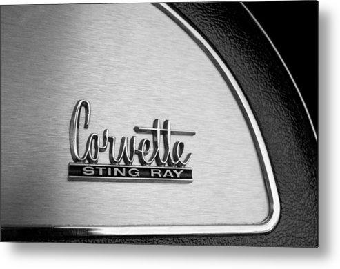 1967 Chevrolet Corvette Glove Box Emblem Metal Print featuring the photograph 1967 Chevrolet Corvette Glove Box Emblem by Jill Reger