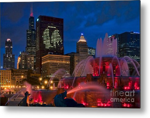 Chicago Metal Print featuring the photograph Chicago Blackhawks Skyline by Jeff Lewis