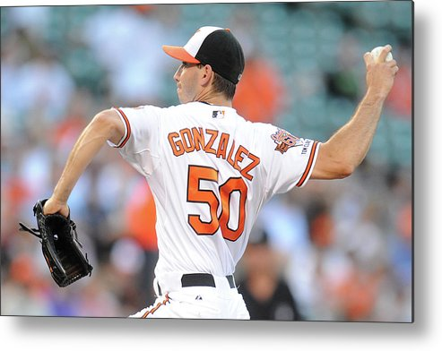 American League Baseball Metal Print featuring the photograph Chicago White Sox V Baltimore Orioles by Mitchell Layton
