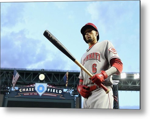 National League Baseball Metal Print featuring the photograph Cincinnati Reds V Arizona Diamondbacks 1 by Christian Petersen