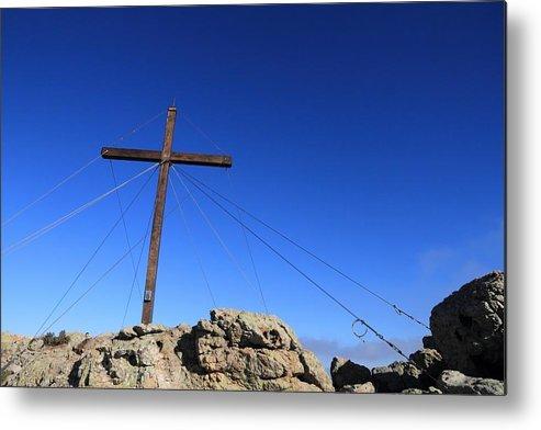 Balagne Metal Print featuring the photograph Cross At Capu Di A Veta Near Calvi In Corsica by Jon Ingall