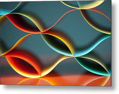 Abstract Metal Print featuring the pyrography Curved Colorful Sheets Paper With Mirror Reflexions by Dan Comaniciu