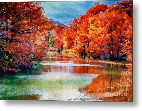 River Metal Print featuring the photograph Fall On The Guadalupe Wc by Ken Williams
