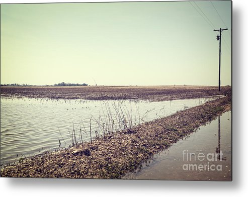 Acts Of God Metal Print featuring the photograph Flooded Farmland by Leslie Banks