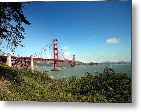 Golden Metal Print featuring the photograph Golden Gate Bridge In San Francisco by Carol M Highsmith