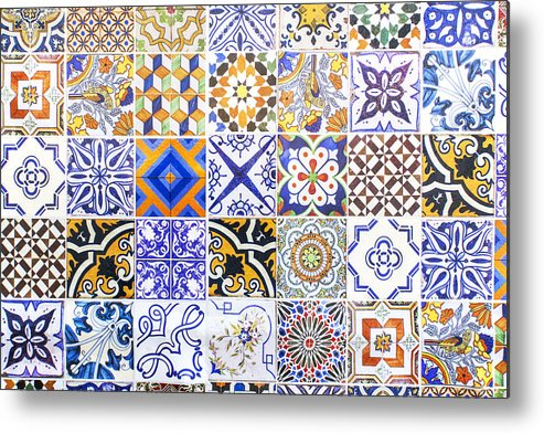 Baixa Metal Print featuring the photograph Hand Painted Portuguese Ceramic Tile by Andre Goncalves