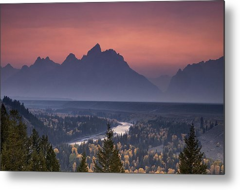 Mountain Metal Print featuring the photograph Misty Teton Sunset by Andrew Soundarajan