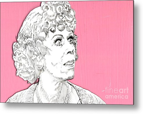 Carol Metal Print featuring the mixed media Momma On Pink by Jason Tricktop Matthews