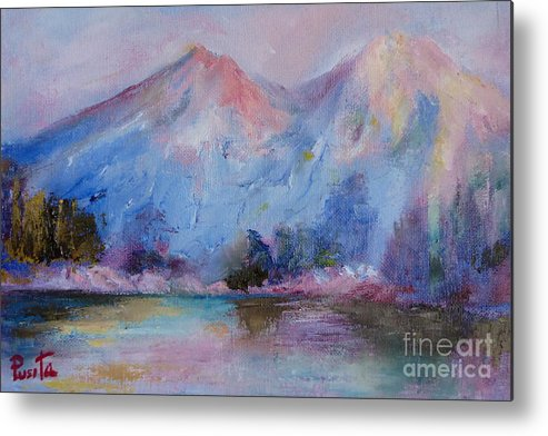 Landscape Metal Print featuring the painting Mountain Vista 2 by Pusita Gibbs
