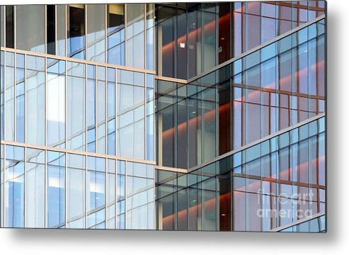 Downtown Metal Print featuring the photograph Office Building Windows by Henrik Lehnerer
