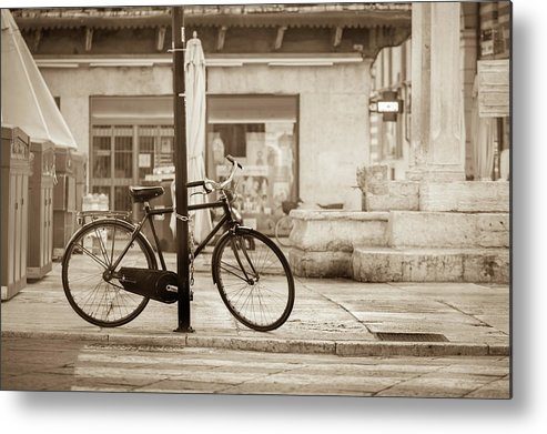 Residential District Metal Print featuring the photograph Old Bicycle Parking by Deimagine