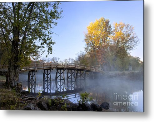 Autumn Metal Print featuring the photograph Old North Bridge Concord by Brian Jannsen