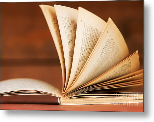 Article Metal Print featuring the photograph Open Book In Retro Style by Michal Bednarek