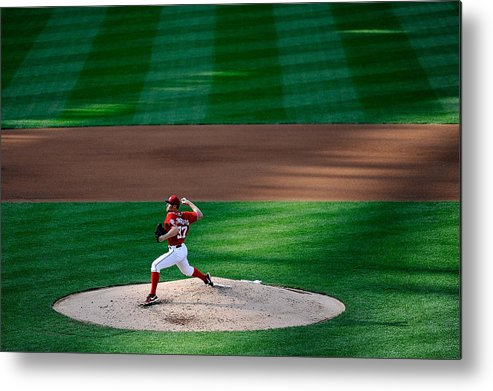 American League Baseball Metal Print featuring the photograph Philadelphia Phillies V Washington 1 by Patrick Mcdermott