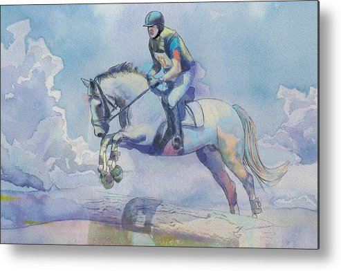 Horse Sport Metal Print featuring the painting Polo Art by Catf