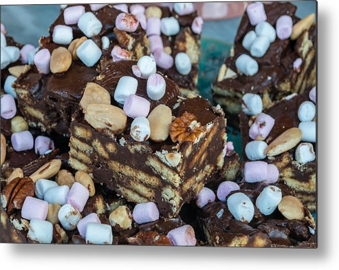 Brown Metal Print featuring the photograph Rocky Road Slices by Chay Bewley