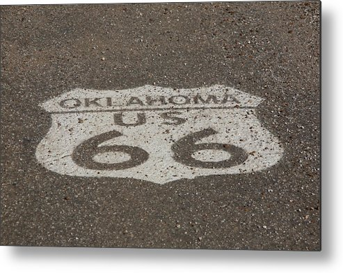 66 Metal Print featuring the photograph Route 66 - Oklahoma Shield by Frank Romeo