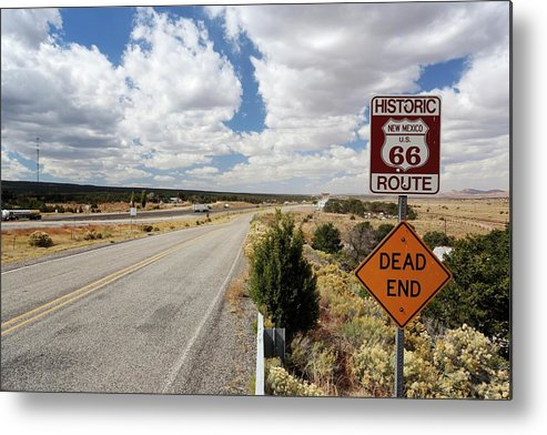 Nobody Metal Print featuring the photograph Route 66 Sign by Michael Szoenyi