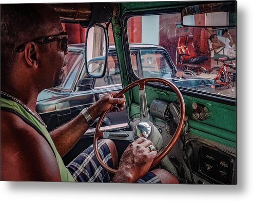 Street Metal Print featuring the photograph Taxidriver by Andreas Bauer