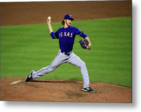 American League Baseball Metal Print featuring the photograph Texas Rangers V Baltimore Orioles 1 by Rob Carr