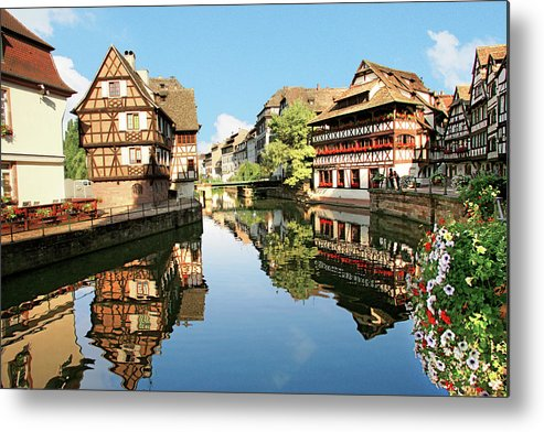 Accommodation Metal Print featuring the photograph Timbered Buildings, La Petite France by Miva Stock