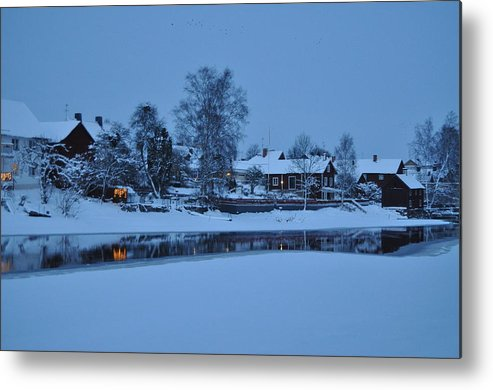 #winter #sweden #beatiful #snow #ice #water #houses #scenery #idylic Metal Print featuring the photograph Winter In Sweden by Stefan Pettersson