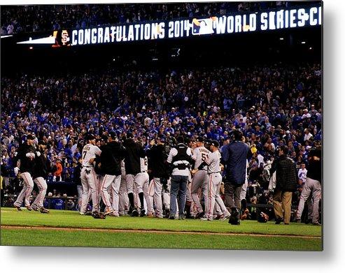 American League Baseball Metal Print featuring the photograph World Series - San Francisco Giants V by Ezra Shaw