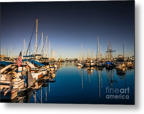 American Flag Metal Print featuring the photograph Yacht At The Pier by Sviatlana Kandybovich