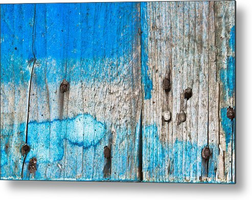 Architecture Abstract Metal Print featuring the photograph Blue Wood by Tom Gowanlock