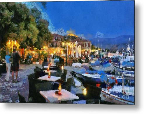 Lesvos; Lesbos; Molyvos; Molivos; Mithymna; Methymna; Village; Town; Island; Port; Harbor; People; Tourists; Man; Woman; Castle; Fortress; Boat; Boats; Fishing; Islands; Greece; Hellas; Greek; Aegean; Summer; Holidays; Vacation; Tourism; Touristic; Travel; Trip; Voyage; Journey; Dusk; Twilight; Night; Tables; Chairs; Bar; Pub; Inn; Blue Sky; Paint; Painting; Paintings Metal Print featuring the painting Molyvos Town In Lesvos Island by George Atsametakis