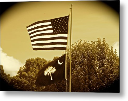 Farm Classic Tractor Flags Landscape Metal Print featuring the photograph Farm  by Frank Conrad