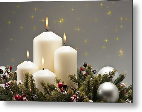 Cone Metal Print featuring the photograph Advent Wreath by U Schade