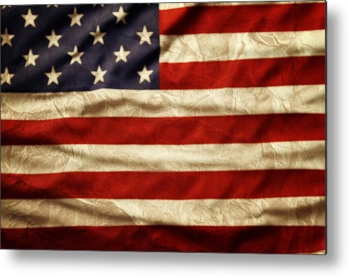 Wrinkled Metal Print featuring the photograph American Flag by Les Cunliffe