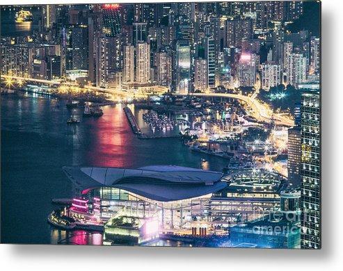 Hong Metal Print featuring the photograph Hong Kong At Night by Tuimages
