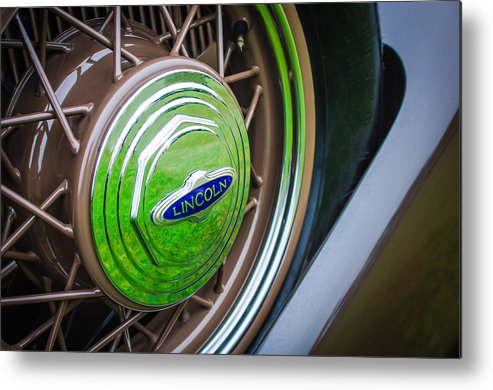 1933 Lincoln Kb Judkins Coupe Emblem - Spare Tire Metal Print featuring the photograph 1933 Lincoln Kb Judkins Coupe Emblem - Spare Tire by Jill Reger