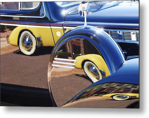 1937 Cord 812 Phaeton Reflected Into Packard Metal Print featuring the photograph 1937 Cord 812 Phaeton Reflected Into Packard by Jill Reger