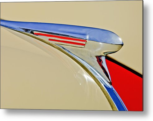 1940 Chevrolet Metal Print featuring the photograph 1940 Chevrolet Pickup Hood Ornament 2 by Jill Reger
