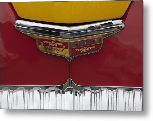 1946 Desoto Skyview Taxi Metal Print featuring the photograph 1946 Desoto Emblem by Jill Reger