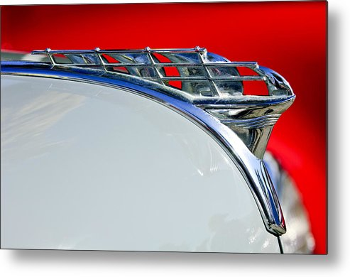 1950 Plymouth Coupe Metal Print featuring the photograph 1950 Plymouth Hood Ornament 3 by Jill Reger