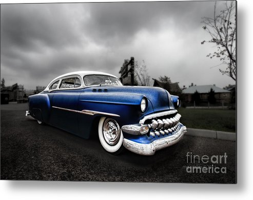 Car Metal Print featuring the photograph 1954 Blue Buick by Michael Rankin
