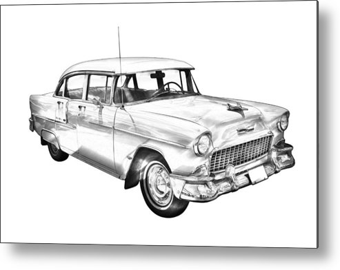 Car Metal Print featuring the photograph 1955 Chevrolet Bel Air Illustration by Keith Webber Jr